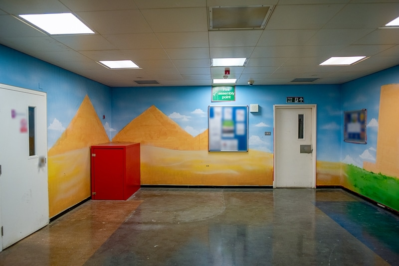 Day 2 painted pyramids mural