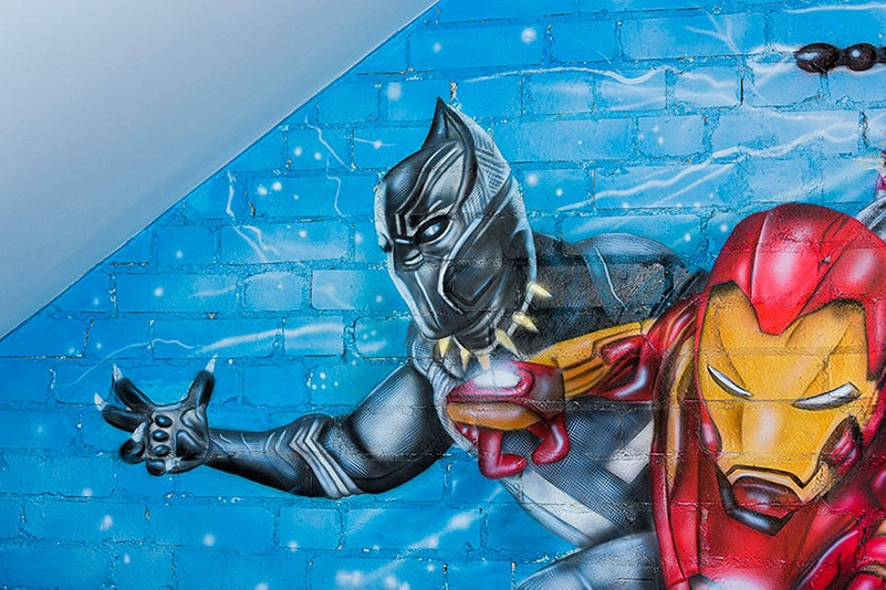 Mural Avengers black panther painted on the wall