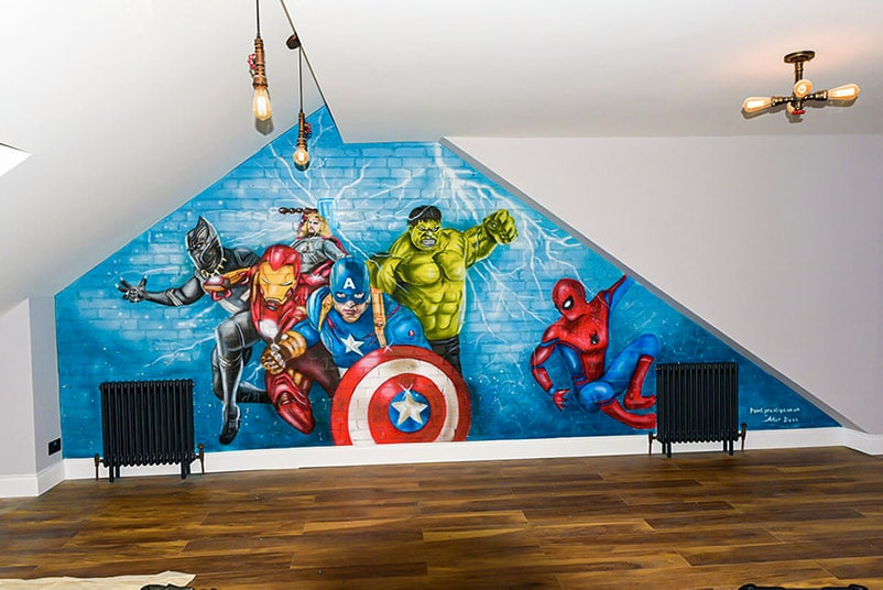 Mural Avengers painted on the wall