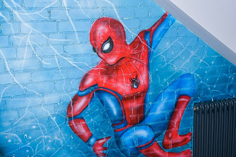 Mural Avengers spiderman painted on the wall