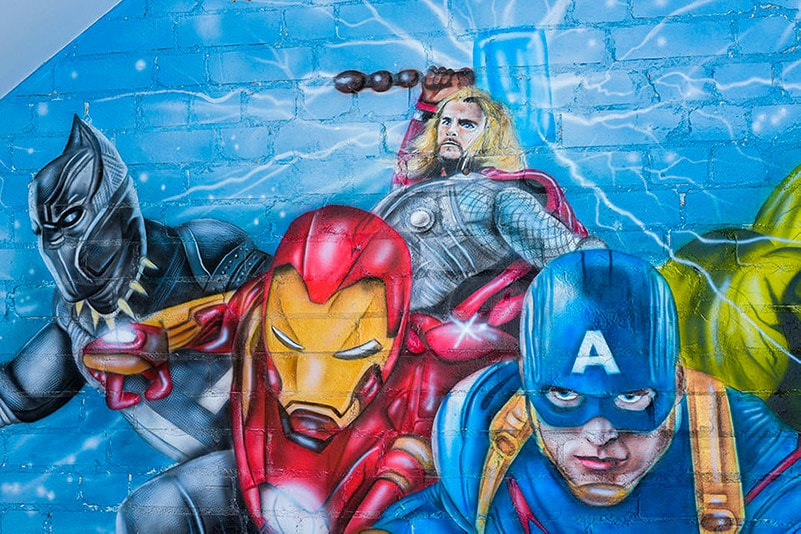 Mural Avengers iron man painted on the wall