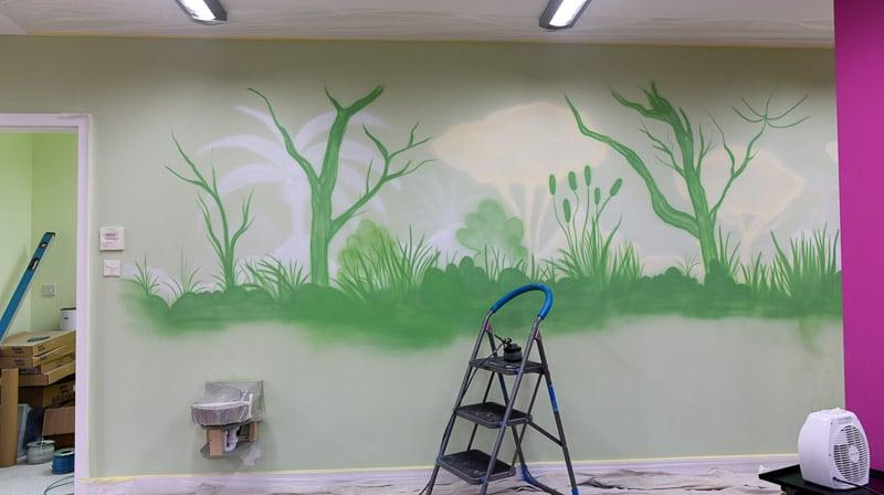 big panda mural during painting