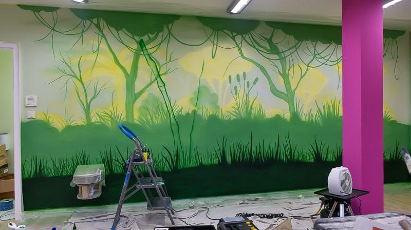 big panda mural while painting