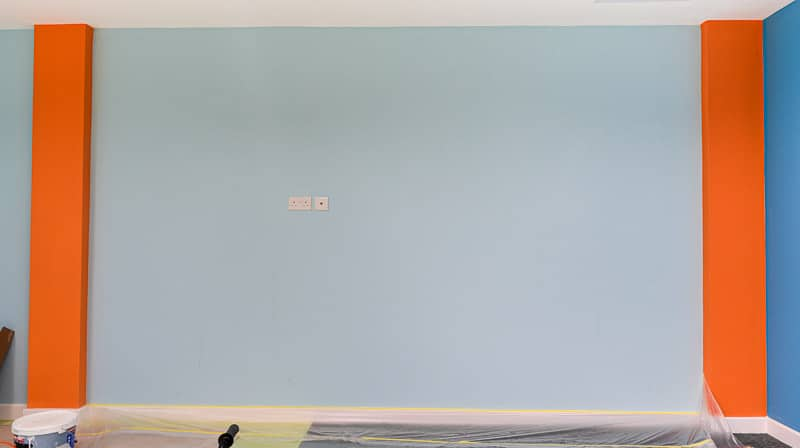 wall before painting dolphin mural