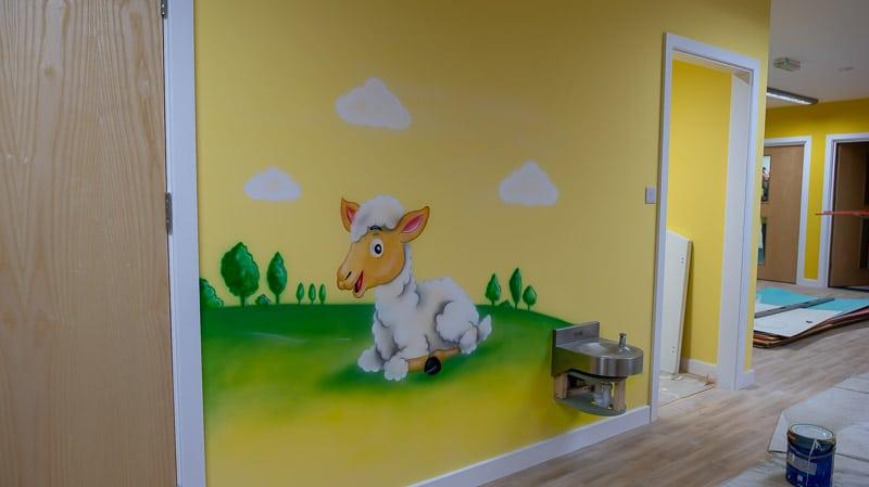 little lamb wall mural