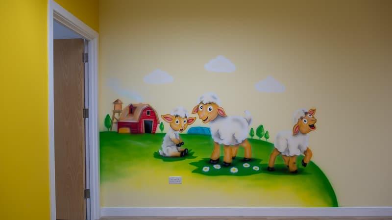 little lamb wall murals