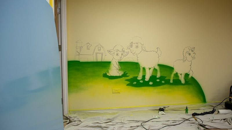 little lamb wall murals during painting