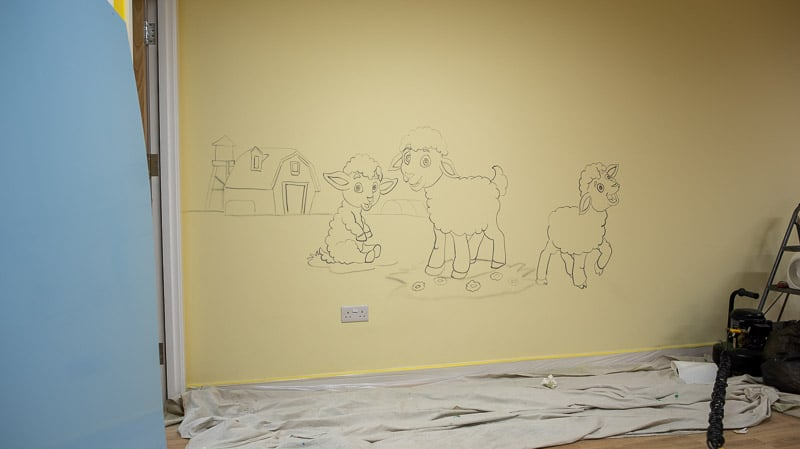 little lamb wall mural before painting