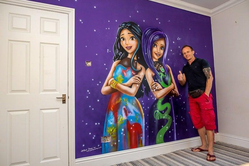 Descendants mural on the wall