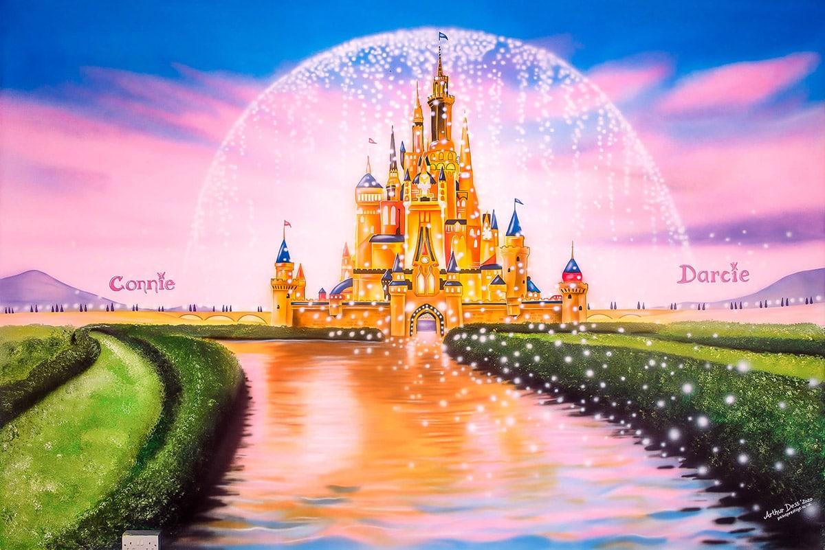 Girls wall Murals - Disney Castle Mural