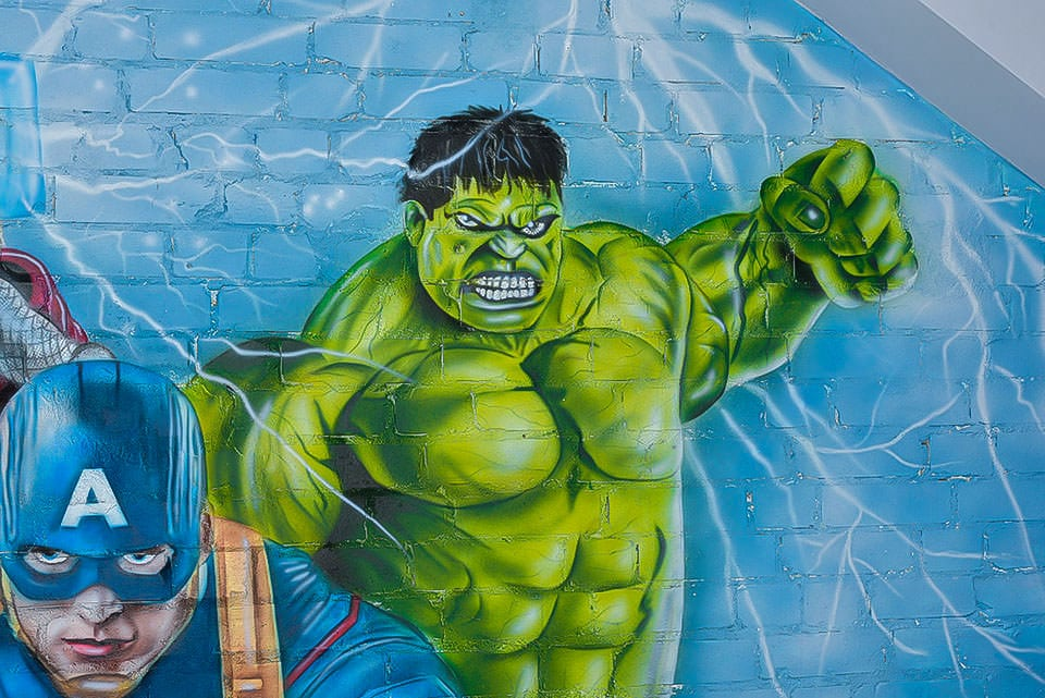 Fabulous Hulk hand painted mural on the wall