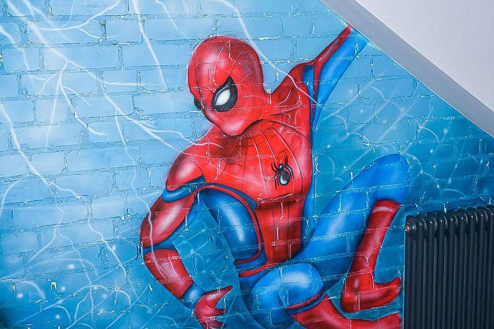 Fantastic Spider-Man hand painted mural