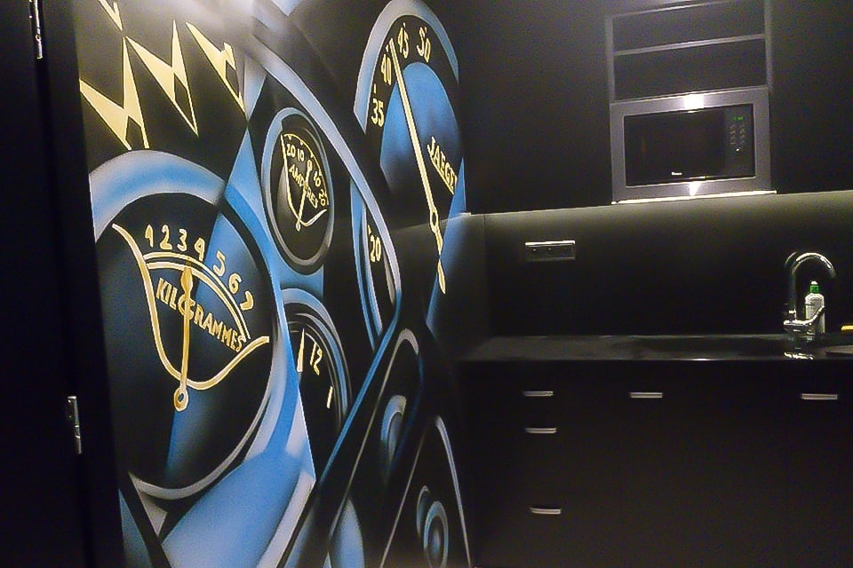 Black and blue modern office mural on the wall