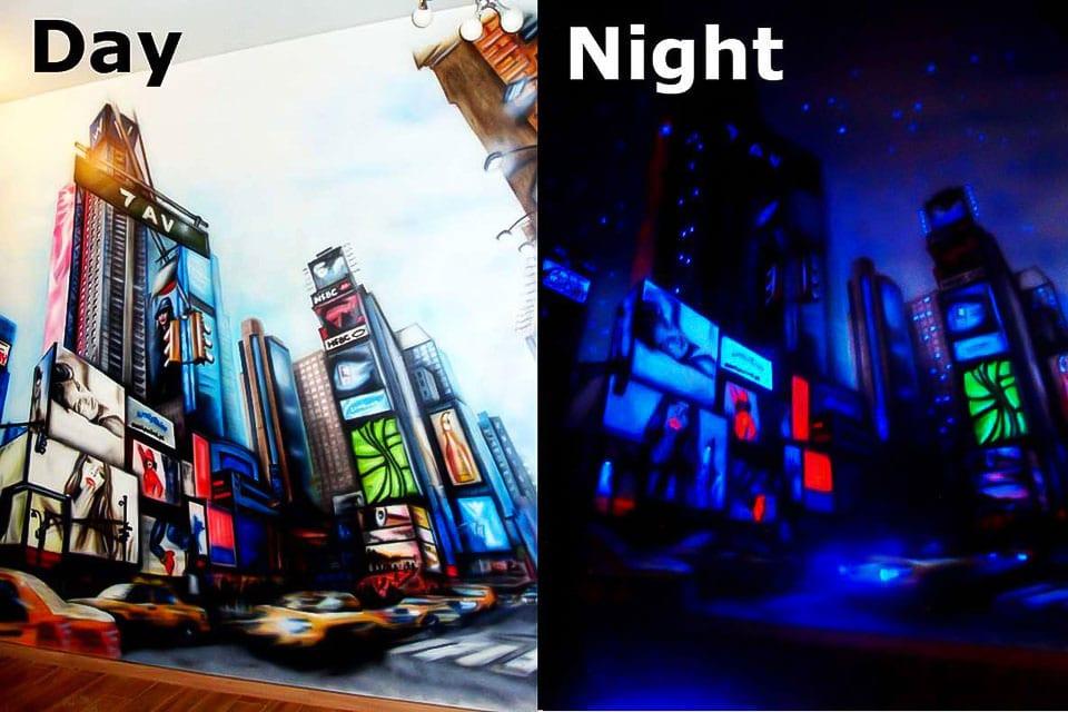 New York City Mural Glow in the dark