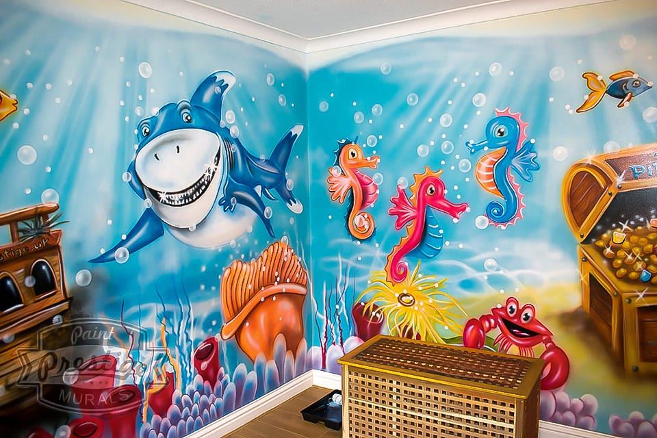 Fantastic mural with friends sharks and seahorses