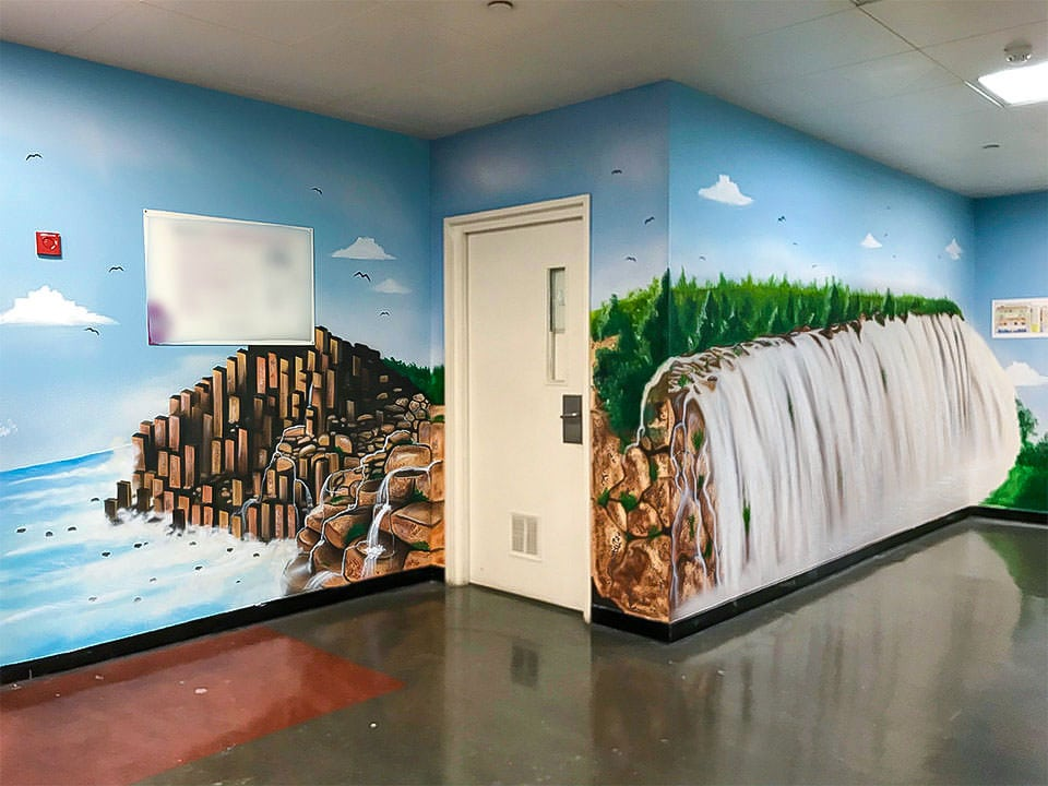 Beautiful mural of waterfall