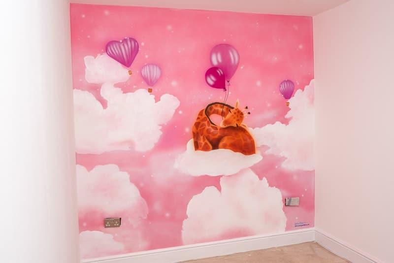 Giraffe mural for Baby room murals