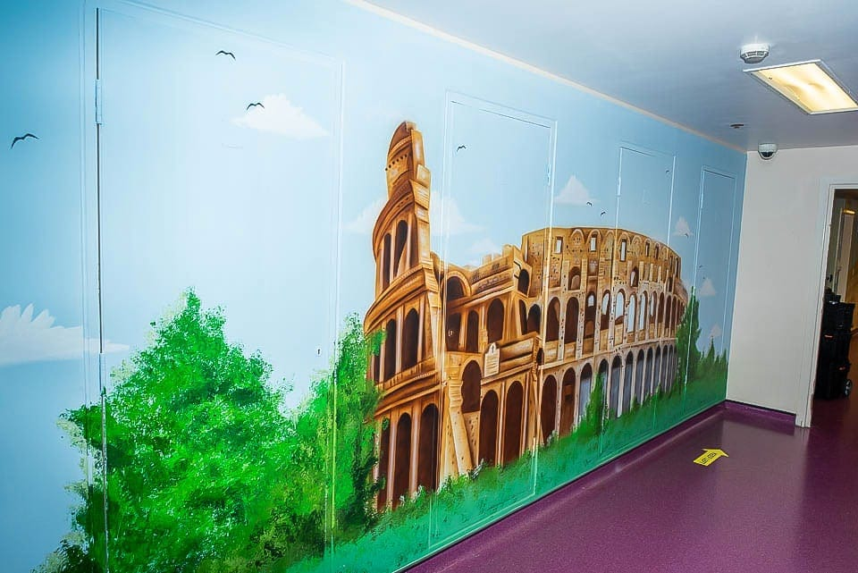 Colosseum mural on the wall