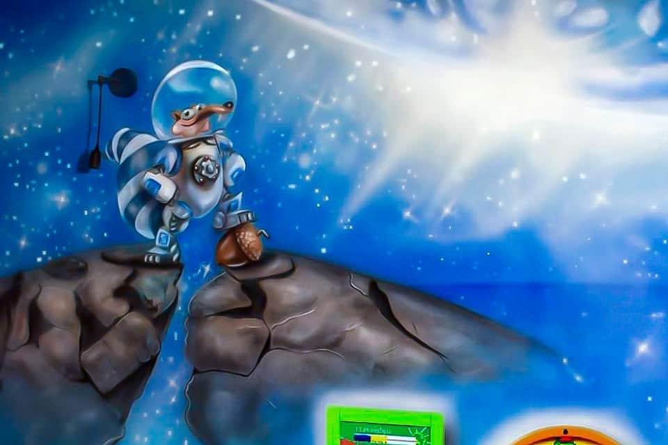 Skrat in the space mural