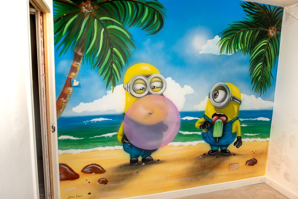 Minions kids wall mural painted by mural artist