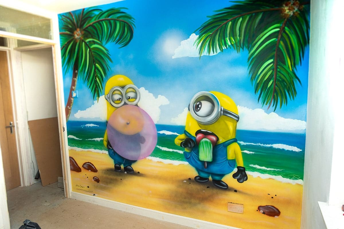 minions mural on the wall