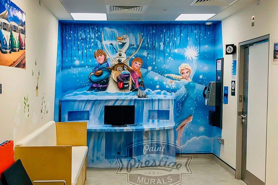 Else, Anna, Olaf and more Frozen characters mural