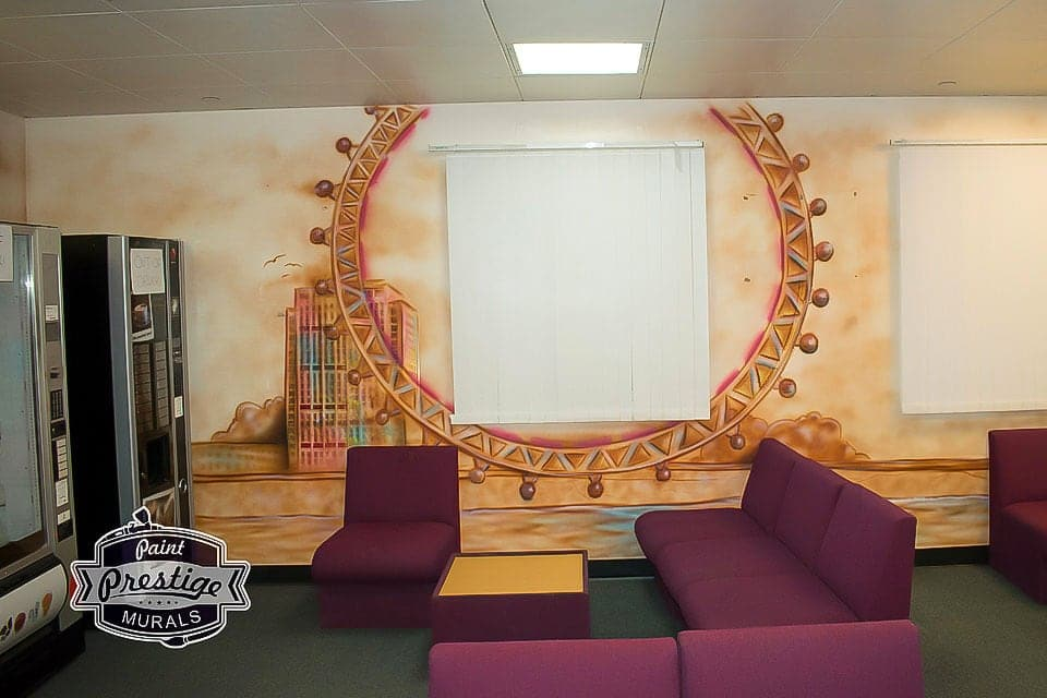Great mural of London Eye painted on the wall