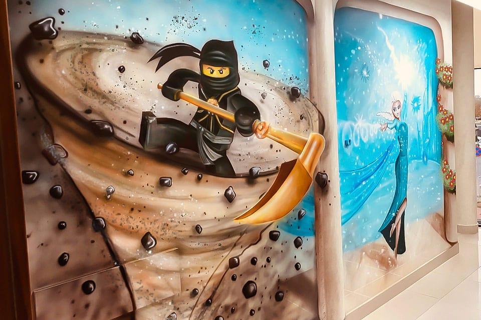 Powerful ninjago mural on the wall