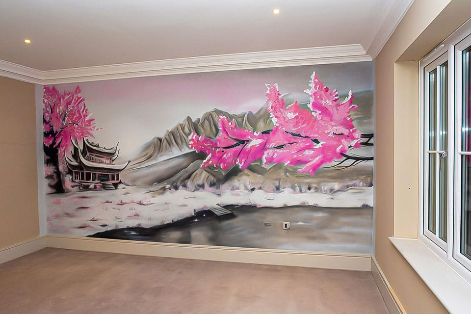 Fabulous orient mural with blossom trees and small Japanese house on mountain view