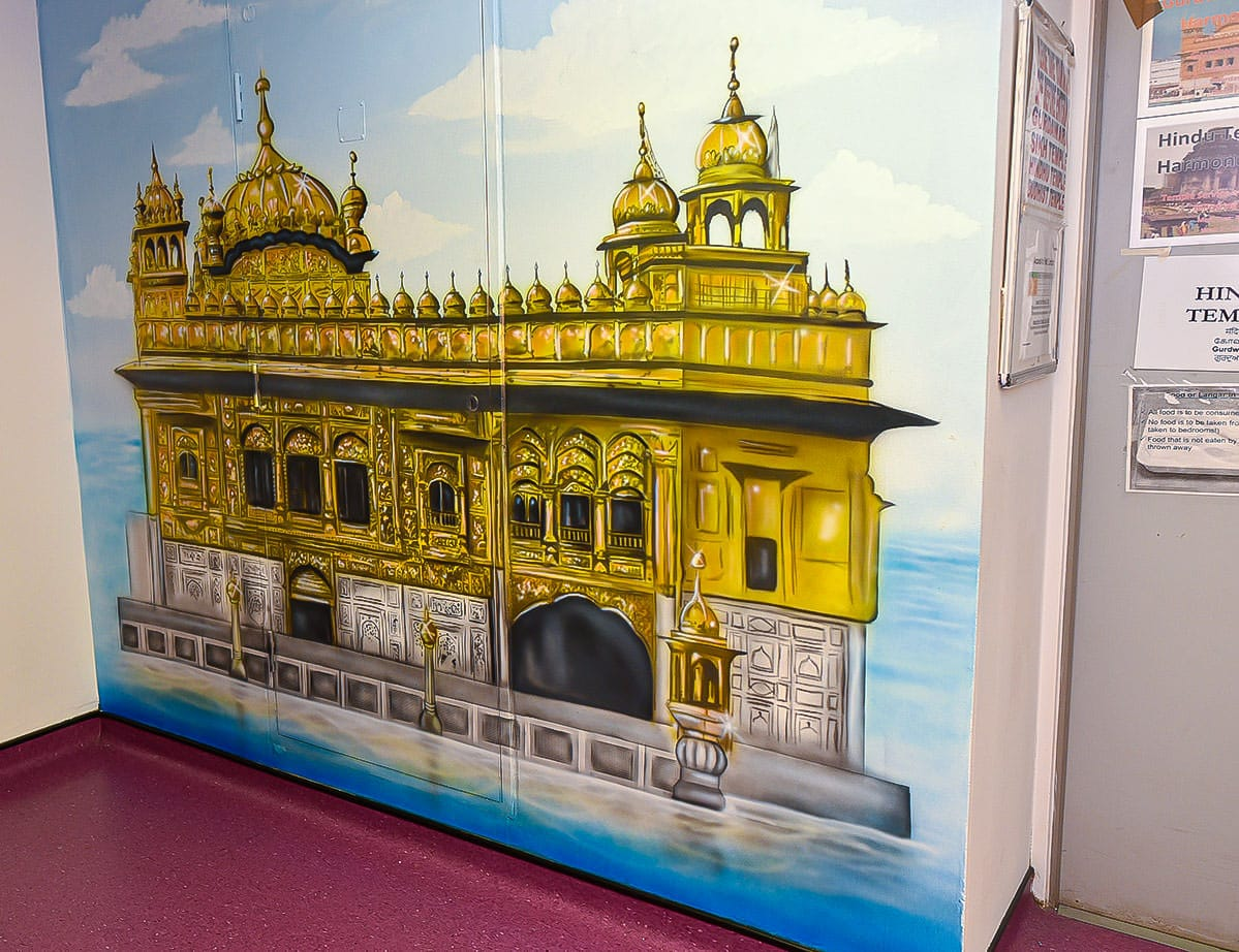 Fabulous golden temple mural