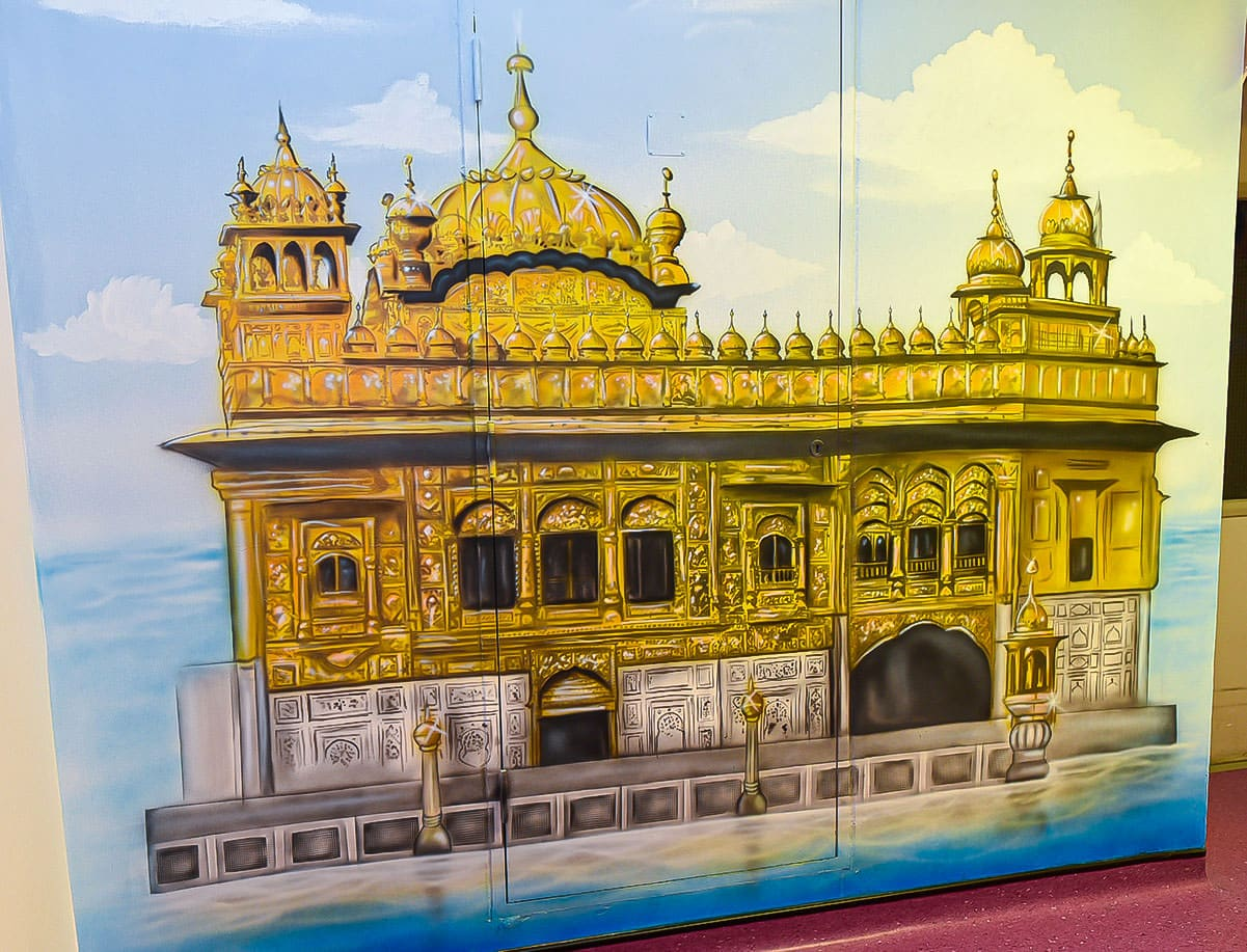 Great golden temple hand painted mural