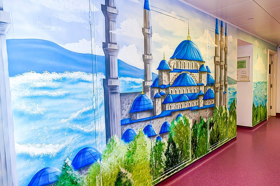 Beautiful Blue Mosque mural of the sea background
