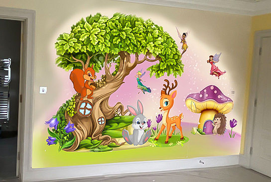 Project of fairy woodland mural on the wall