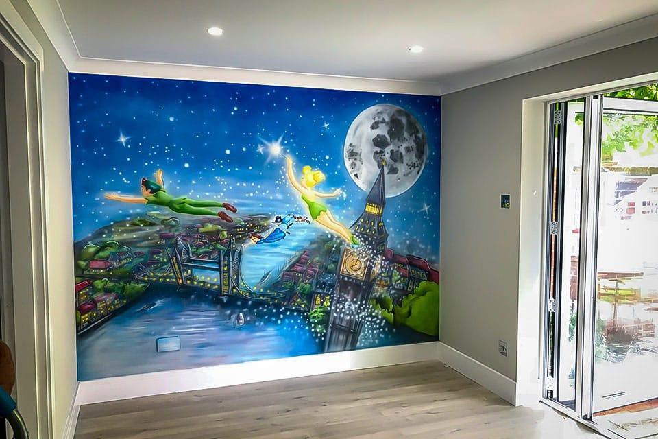 Beautiful mural of Peter Pan