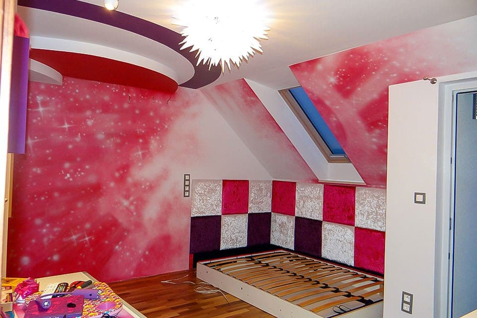 Magical pinky space mural on the wall