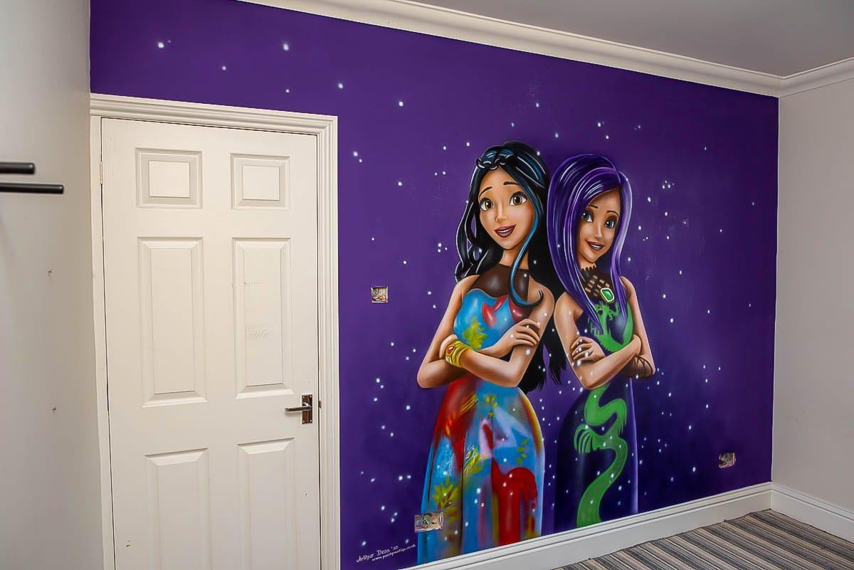 Hand Painted Girls Wall Murals - Descendants