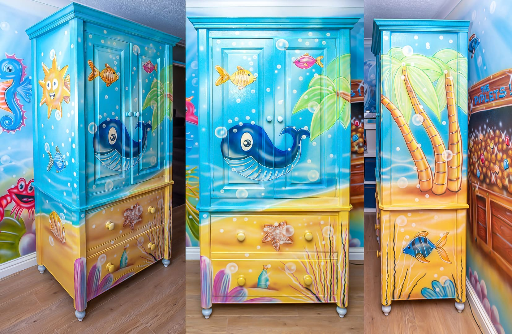 Under the sea mural on the wardrobe in kids room