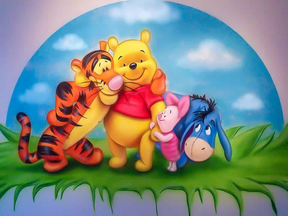 Colourful Winnie the Pooh mural