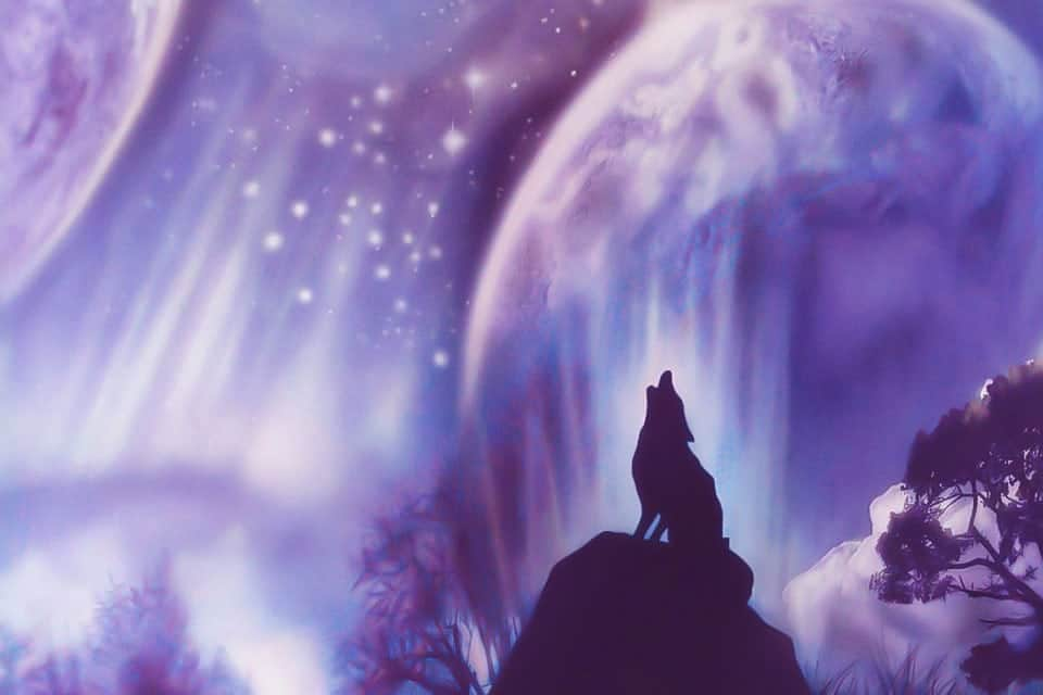 Magical space mural with roaring wolf