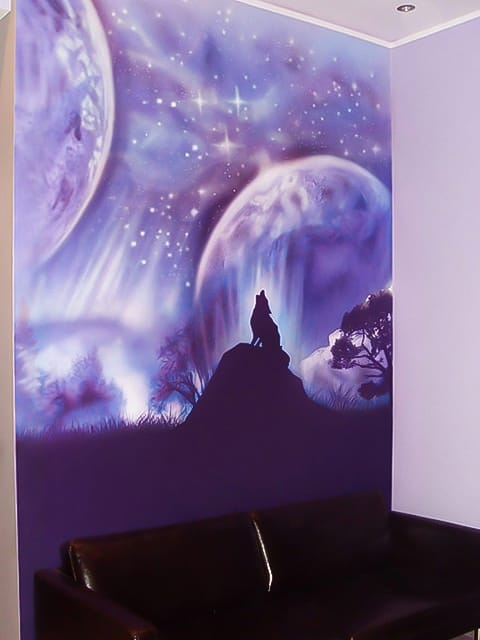 Fantastic roaring wolf on the space background mural