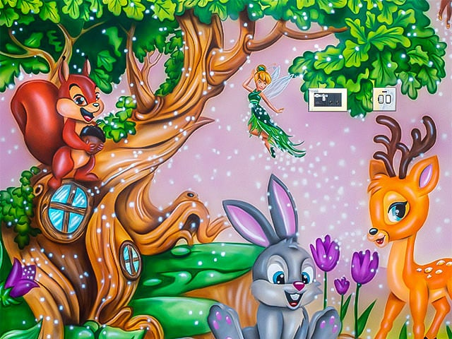 Magical woodland mural with fairy, rabbit, squirrel and fawn