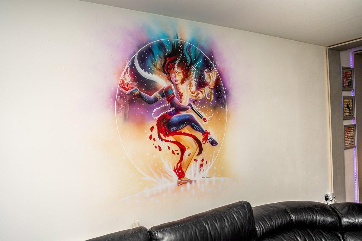 Colourful Hindu god Durga mural on the wall