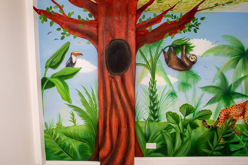 Jungle wall mural during painting