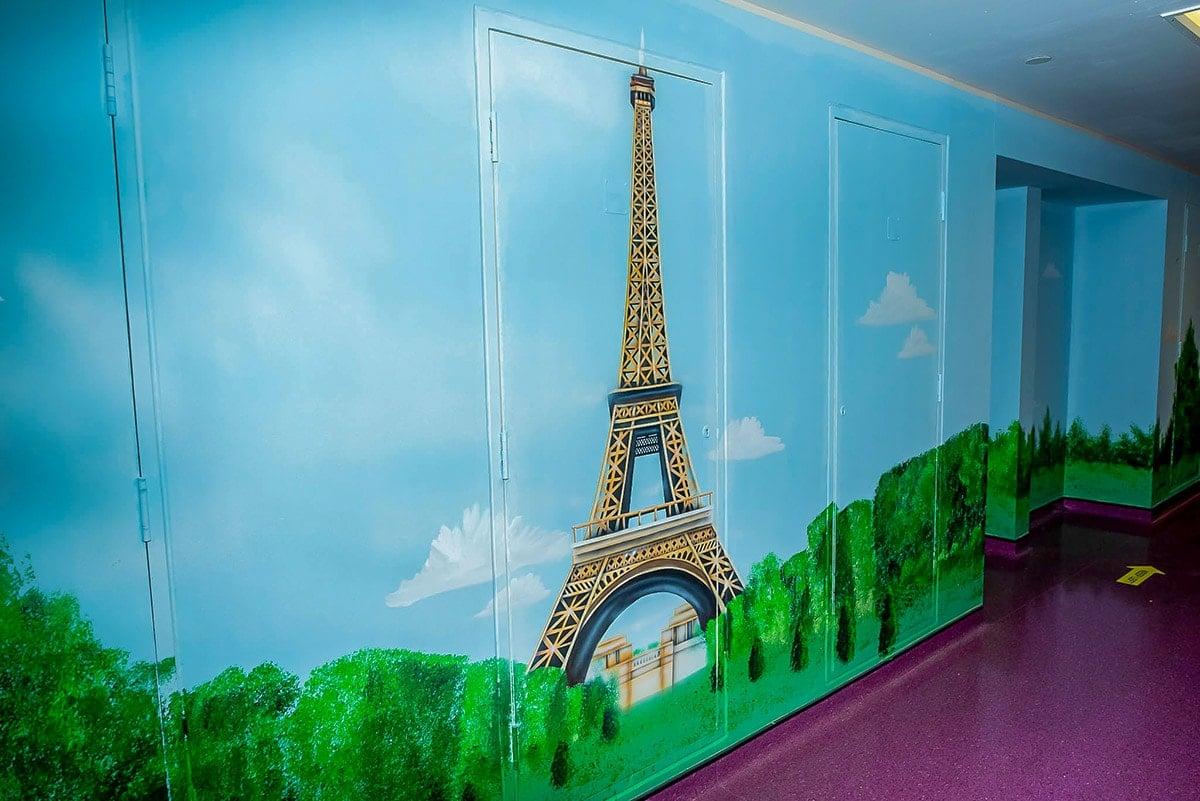 Eiffel Tower wall murals for restaurant