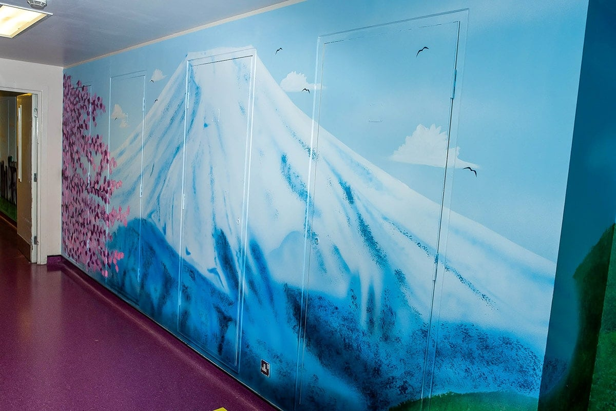 Mount Fuji hand painted on the wall