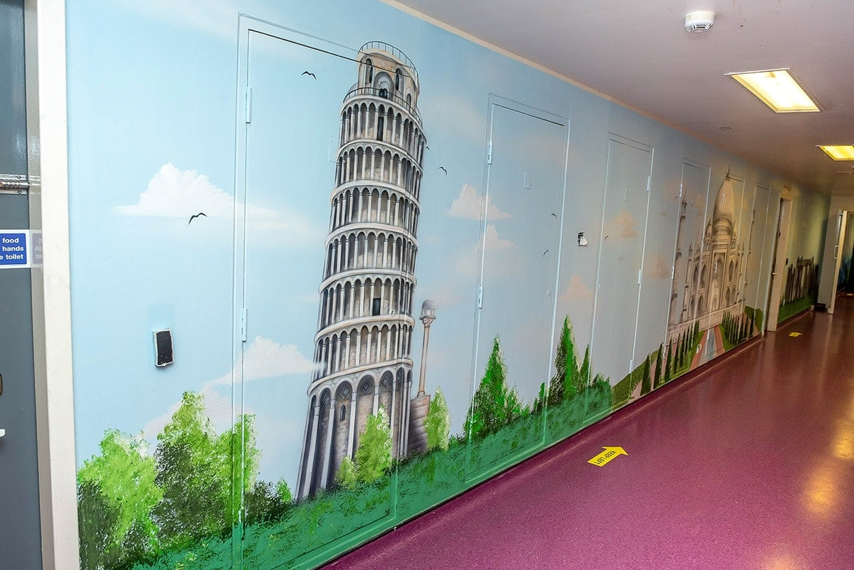 Lining Tower Pisa painted for commercial customer