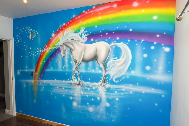 Magical Unicorn wall mural on the wall
