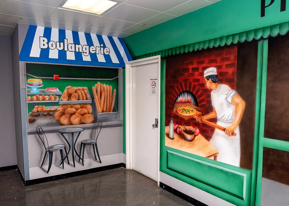 Bakery and shops area wall mural
