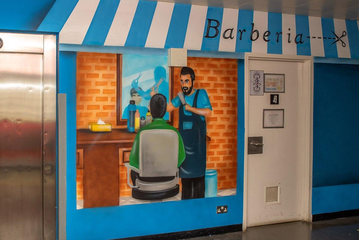 Barber shop wall mural