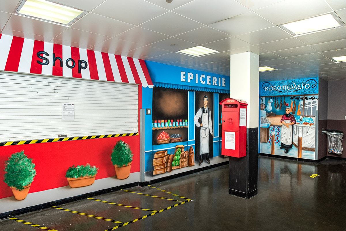 Groceries and shops mural
